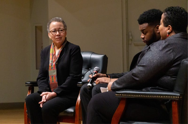 Beverly Tatum speaks with Bobby Steele, director of the Multicultural Center, and Marsha McGriff, associate president for inclusive excellence,  Jan. 21, 2020, at Pruis Hall. The conversation focused on how civil rights have changed, the legacy of Martin Luther King Jr. and the movement he championed. John Lynch, DN