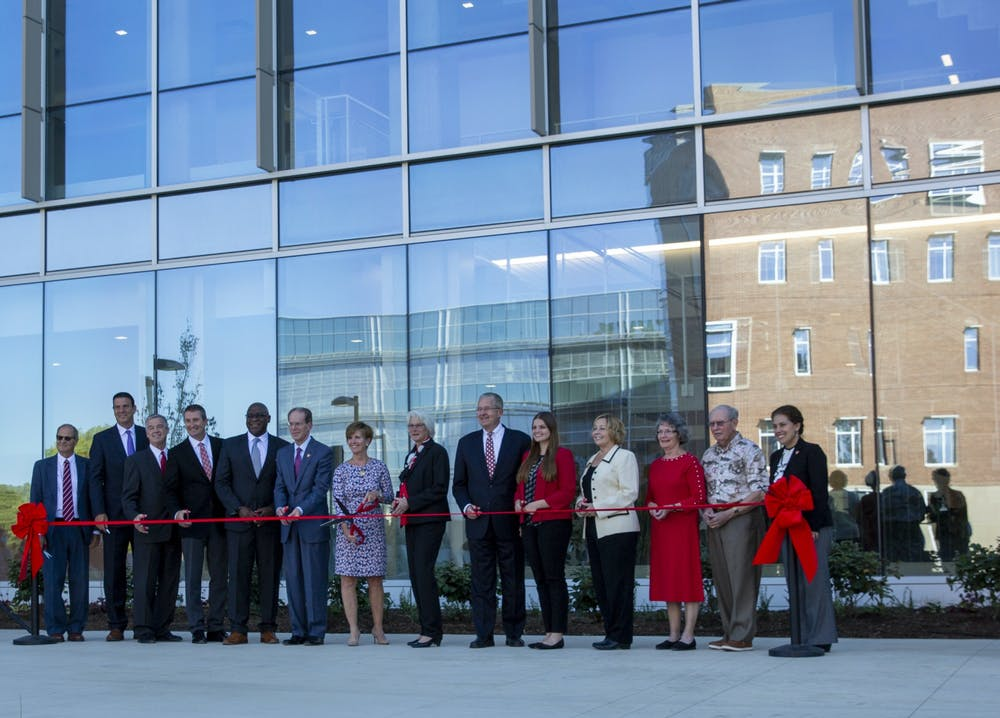 <p>On Friday Oct. 1, Ball State held the ceremonial opening of the Foundation Sciences Building. Located just north of the Village, the building is part of the university&#x27;s commitment to expand and renovate STEM buildings. <strong>Eli Houser, DN</strong></p>