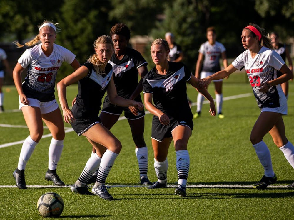 Ball state players, Jenna Dombrowski and Sam Kambol, fight off Omaha players for possession of the ball Friday, Sept. 14, 2018 at Briner Sports Complex. Ball State defeated Omaha 3 to 1 bringing the Cardinals overall record to 4-1-1. Eric Pritchett,DN