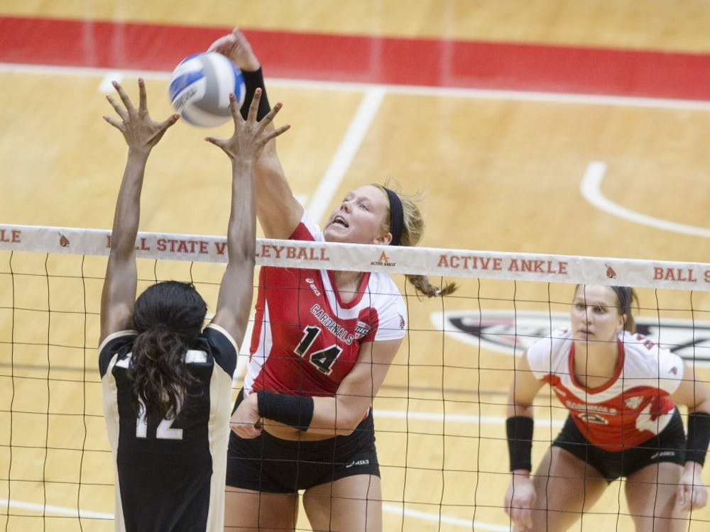 The Ball State women's volleyball team faced Purdue University in a scrimmage on March 29 at Worthen Arena. Ball State lost 0-3.