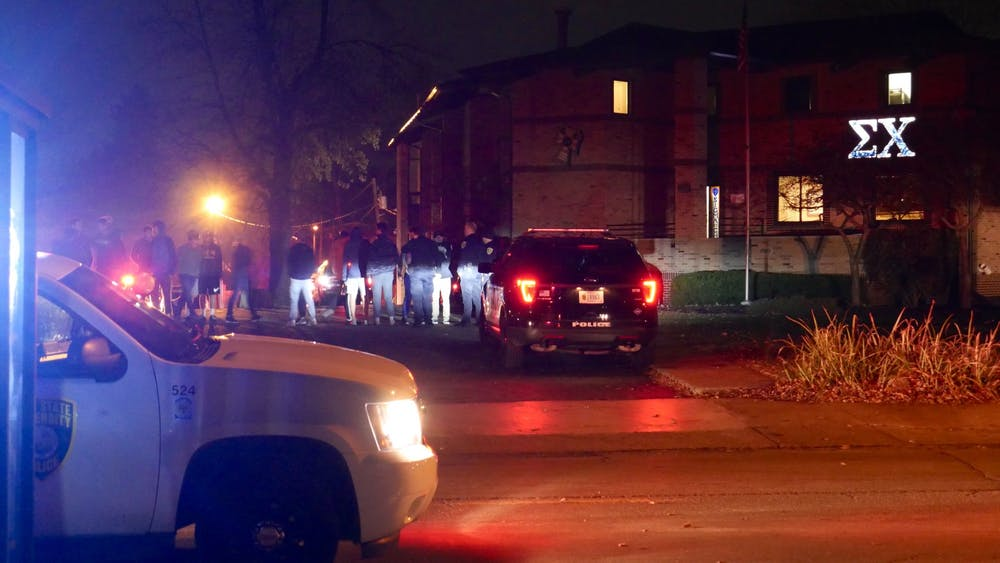 <p>A fire was reported at around 11 p.m. Nov. 15, 2019, at Ball State's Sigma Chi fraternity house on Riverside Avenue. The fire was contained to one room in the basement. <strong>Jake Helmen, DN</strong></p>