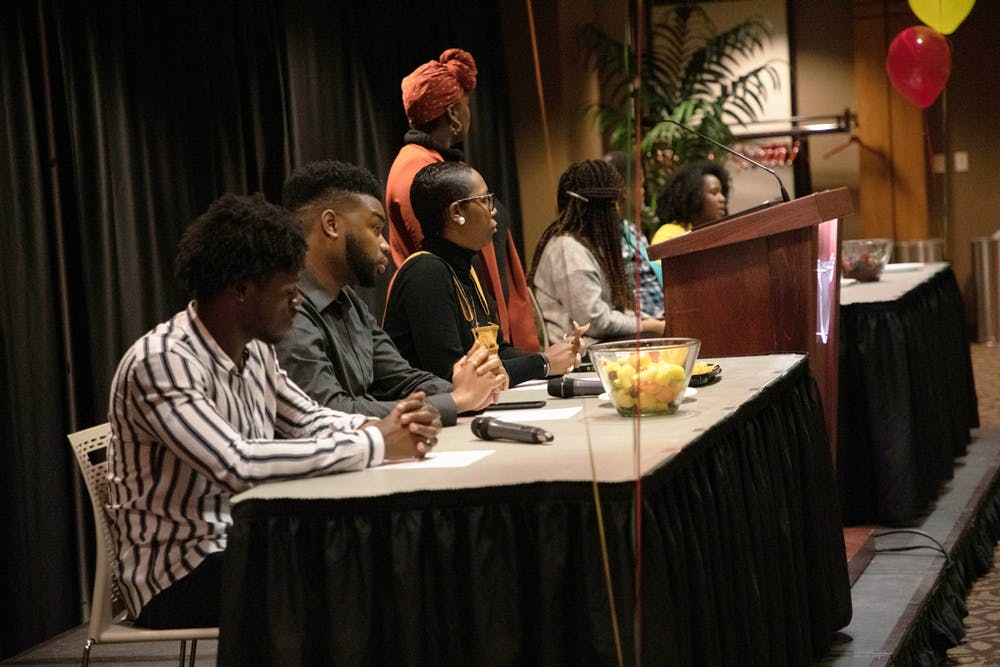 "<p>Panelists are seated at University Program Board's ""Surviving a Predominately White World"" event Feb. 5, 2020, in Cardinal Hall at the L.A. Pittenger Student Center. The Q-and-A style event focused on issues faced by people of color in a predominantly white university and world. <strong>Rohith Rao, DN</strong></p>"