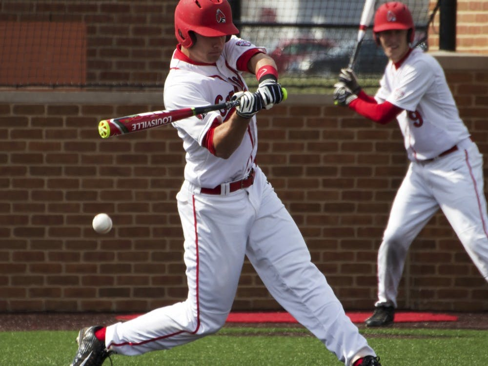 Ball State's junior infielder Alex Maloney attempts to hit the ball during the game against Dayton on March 18. DN PHOTO GRACE RAMEY