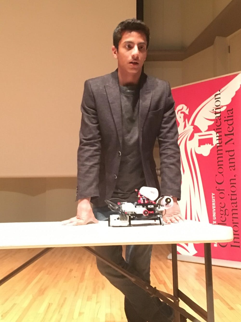 <p>Shubham Banerjee, a 14-year-old entrepreneur, spoke at Ball State on March 30. DN PHOTO MICHELLE KAUFMAN</p>