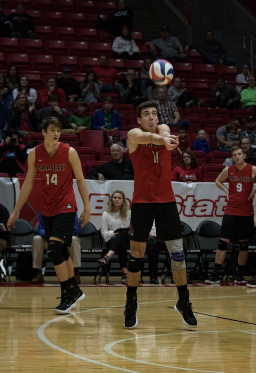 <p>Senior Mitch Weiler bumps the ball during the first game against Lindenwood on March 30 at John E. Worthen Arena. Weiler had 13 digs during the game. <strong>Rebecca Slezak, DN</strong></p>