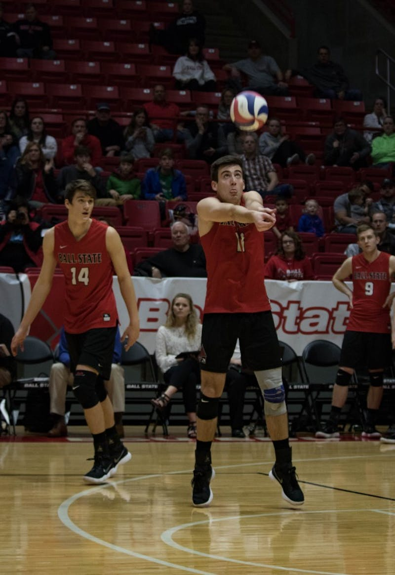 Senior Mitch Weiler bumps the ball during the first game against Lindenwood on March 30 at John E. Worthen Arena. Weiler had 13 digs during the game. Rebecca Slezak, DN