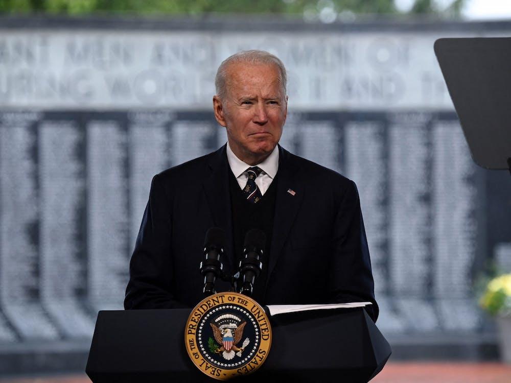 U.S. President Joe Biden speaks at Veterans Memorial Park near the Delaware Memorial Bridge at an annual Memorial Day Service on May 30, 2021, in New Castle, Delaware. (Brendan Smialowski/AFP via Getty Images/TNS)