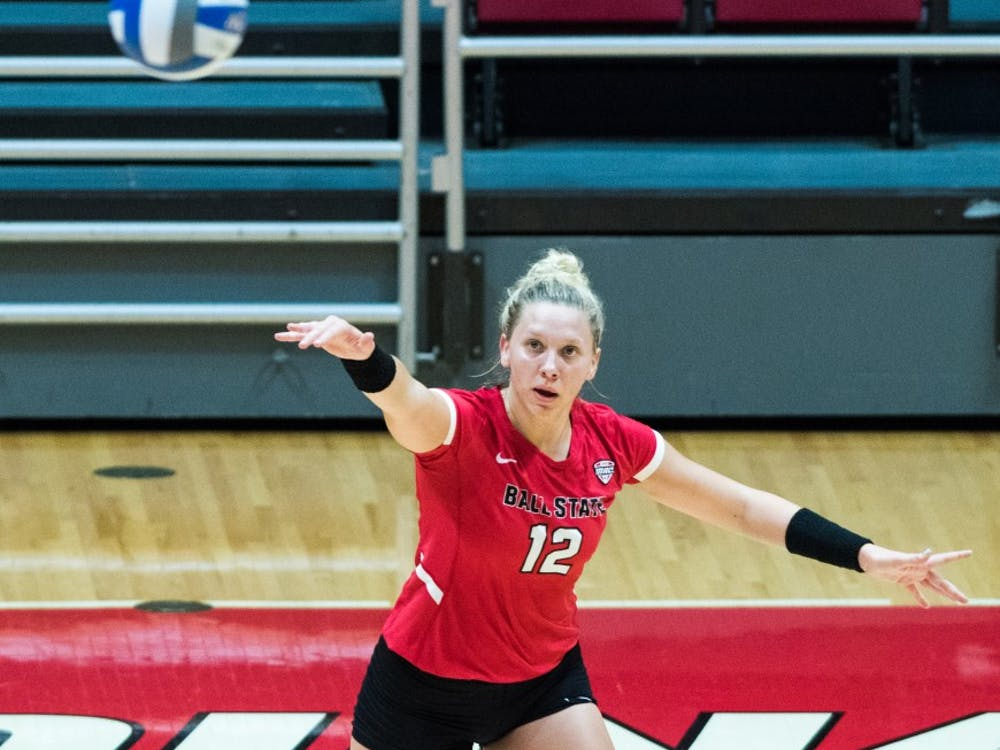 Sydnee Vanbeek serves the ball towards North Dakota State Sept. 7, 2018, at the Worthen Arena. Vanbeek completed nine kills against the Badgers. Stephanie Amador, DN