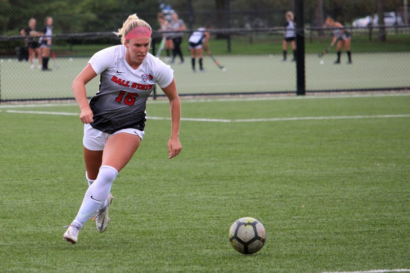 Graduate student Melissa Diceman runs after the ball against Bowling Green on Oct. 7, 2021, at Briner Sports Complex in Muncie, IN. Amber Pietz, DN