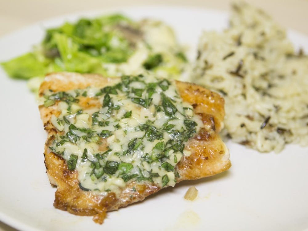 Basil and salmon is a good dinner for the winter.  There are only six ingredients for this recipe. Emma Rogers // DN