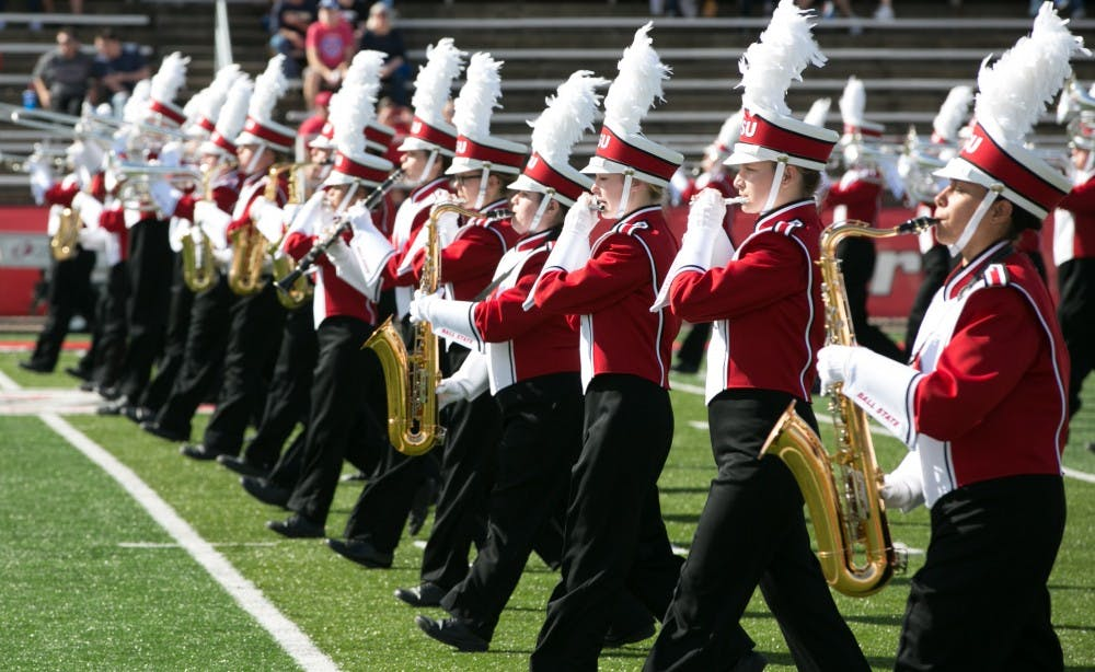 <p>The Pride of Mid-America marching band performs the opener to the homecoming game on Oct. 21 against Central Michigan in Scheumann Stadium. The Cardinals had a hard loss of 56-9. <strong>Kaiti Sullivan, DN</strong></p>