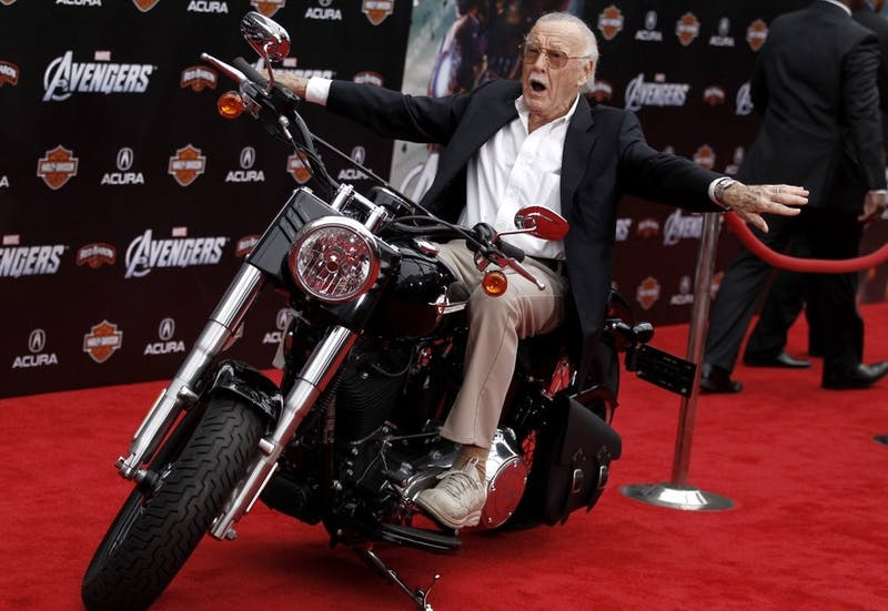 "In this April 11, 2012, file photo,Stan Lee arrives at the premiere of ""The Avengers"" in Los Angeles. Comic book genius Lee, the architect of the contemporary comic book, has died. He was 95. The creative dynamo who revolutionized the comics by introducing human frailties in superheroes such as Spider-Man, The Fantastic Four and The Incredible Hulk, was declared dead Monday, Nov. 12, 2018, at Cedars-Sinai Medical Center in Los Angeles, according to Kirk Schenck, an attorney for Lee's daughter, J.C. Lee. (AP Photo/Matt Sayles, File)"
