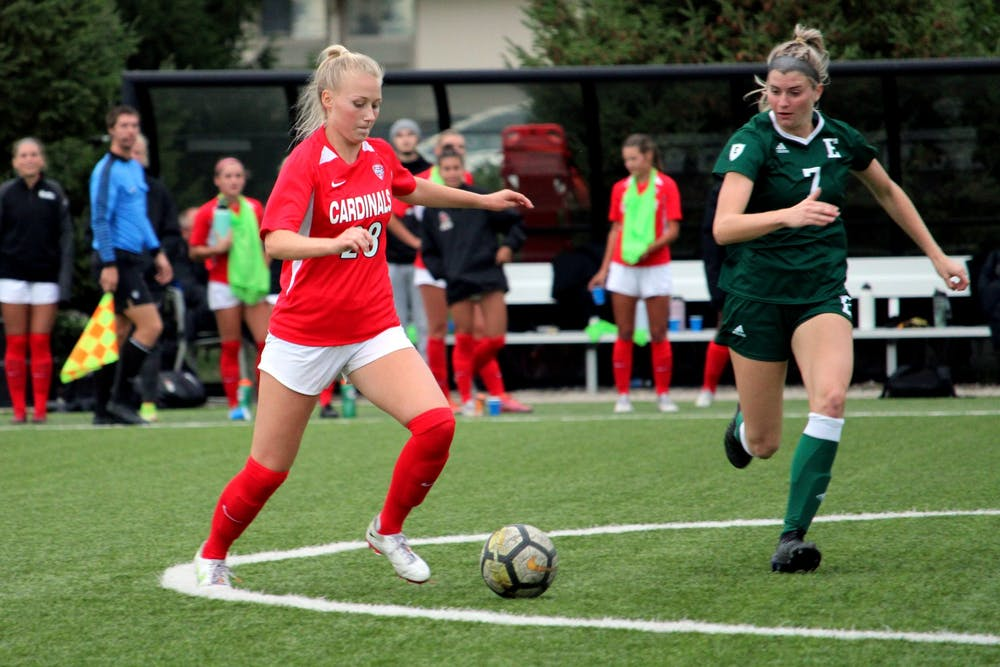 Senior defender Grace Alsop goes for the ball against Eastern Michigan on Sept. 23, 2021, at Briner Sports Complex in Muncie, IN. Amber Pietz, DN