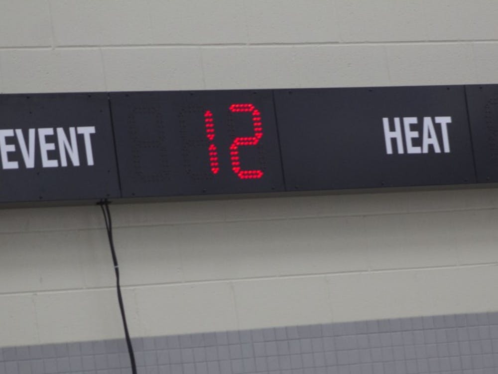 A small scoreboard reads what event and heat it is at the Butler Invitational Jan. 27, 2019 at Fishers High School. This was the 10th year Butler University has hosted this invitational. Patrick Murphy,DN
