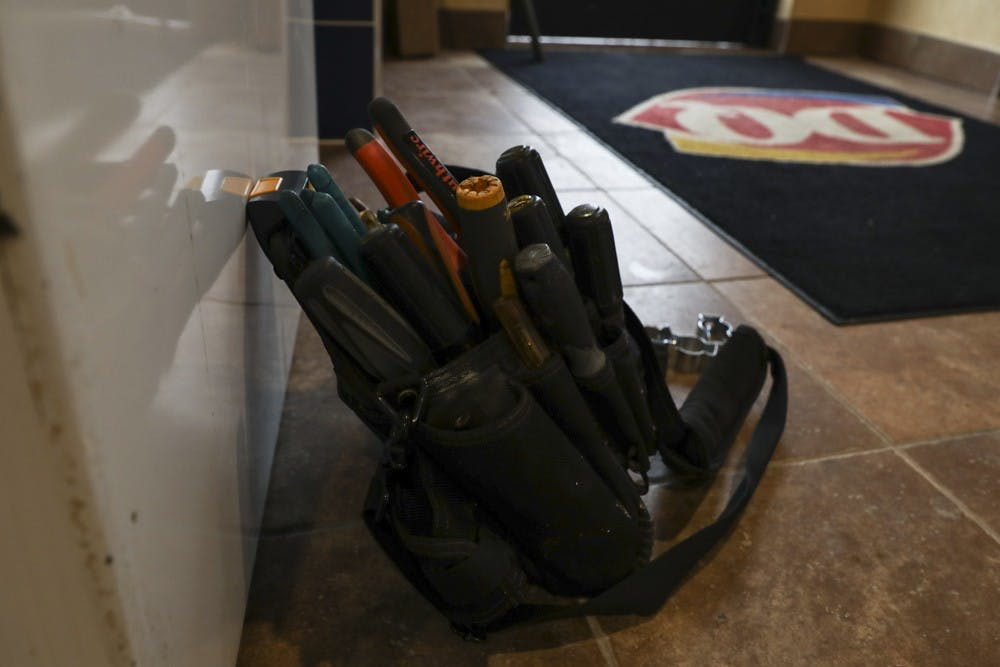 A belt of tools sits by the front door Sept. 20, 2018 at the Dairy Queen on Bethel. The resturant plans to re-open Oct. 1. Rebecca Slezak,DN