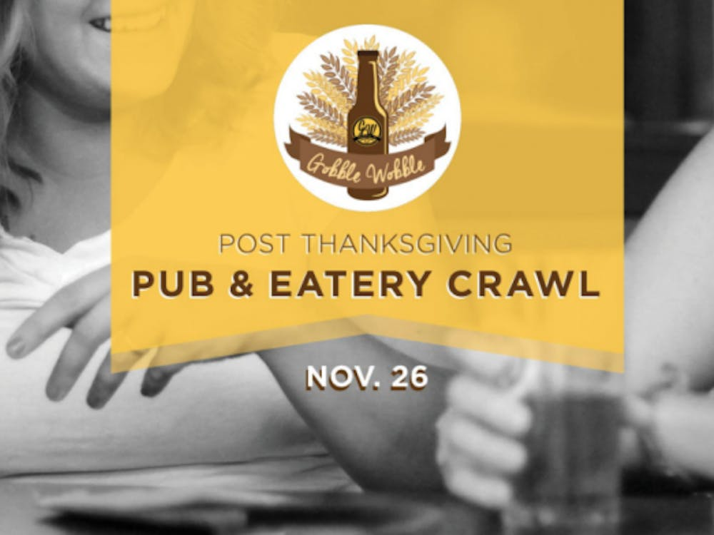 The Gobble Wobble in downtown Muncie will be one of several events throughout the city that celebrates the Thanksgiving holiday. The third-annual Gobble Wobble Pub and Eatery Crawl on Nov. 26 and 27 will provide special deals at local downtown businesses. Gobble Wobble Facebook // Photo Courtesy