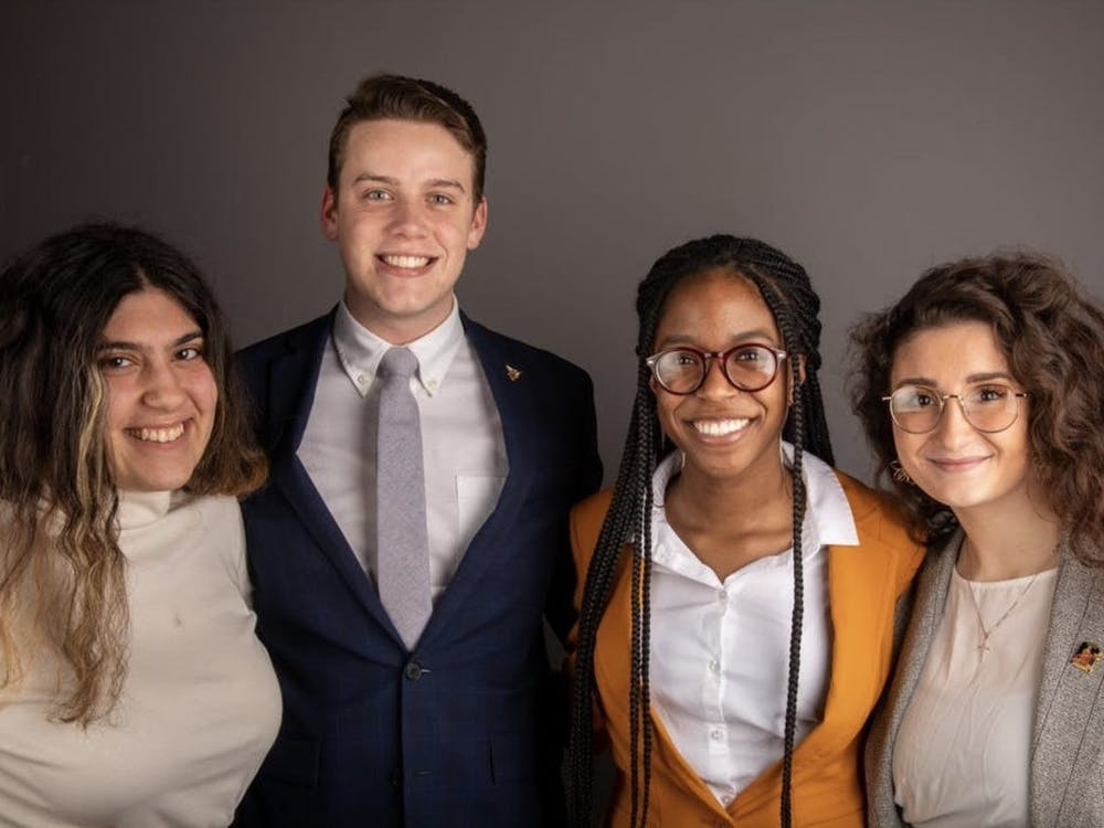Bold executive slate members pose for a photo in February 2020. (Left to right) Amanda Mustaklem, treasurer, Connor Sanburn, president, Jordyn Blythe, vice president and Gina Esposito, chief administrator. Bold was the Student Government Association executive slate during the 2020-21 school year. Jacob Musselman, DN File