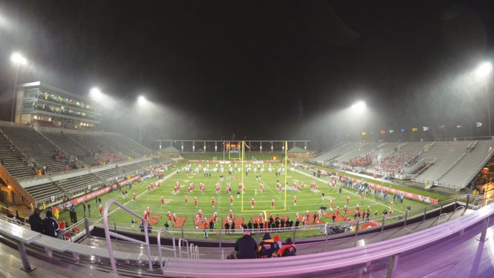 Scheumann Stadium remains empty at the start of the football game Wednesday evening against Central Michigan University. Ball State Dance Marathon's plans for filling the stadium with 10,000 students in order to raise money for Riley Hospital for Children with the athletic department fell short of its intended goal due partially to the weather. DN PHOTO COREY OHLENKAMP