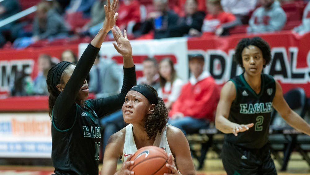 Junior forward Oshlynn Brown goes up for a basket Jan. 11, 2020, at John E. Worthen Arena. The Cardinals beat the Eagles 59-54. Jacob Musselman, DN
