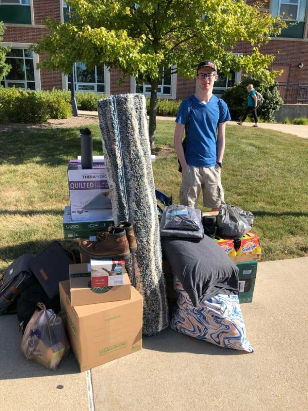 <p>Joshua Smith on move in day August 11, 2019. Photo provided.</p>