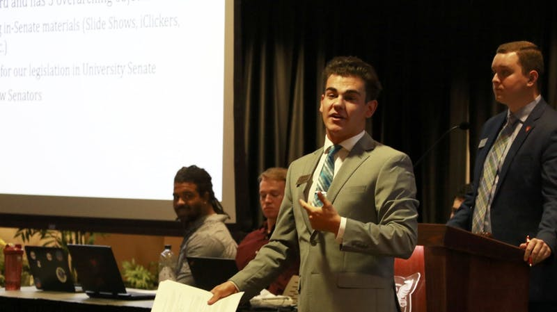 Sen. Dylan Lewandowski addresses the Student Government Association (SGA) senate March 11, 2020. Lewandowski introduced two amendments during SGA's March 25 virtual meeting on Webex. Grace McCormick, DN