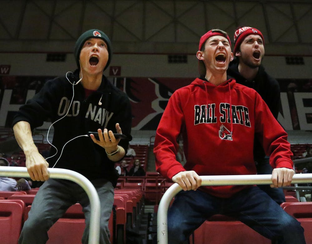 <p>Ball State fans celebrate the Cardinals scoring during their game against Butler Saturday, Nov. 23, 2019, at John E. Worthen Arena. Ball State won 74-70. <strong>Paige Grider, DN</strong></p>