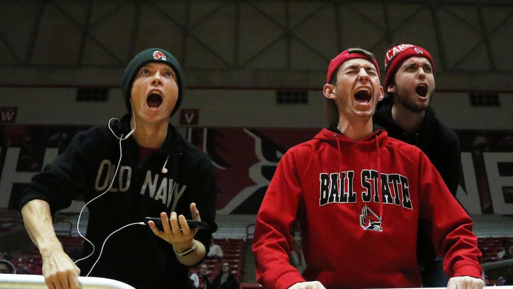 Ball State fans celebrate the Cardinals scoring during their game against Butler Saturday, Nov. 23, 2019, at John E. Worthen Arena. Ball State won 74-70. Paige Grider, DN