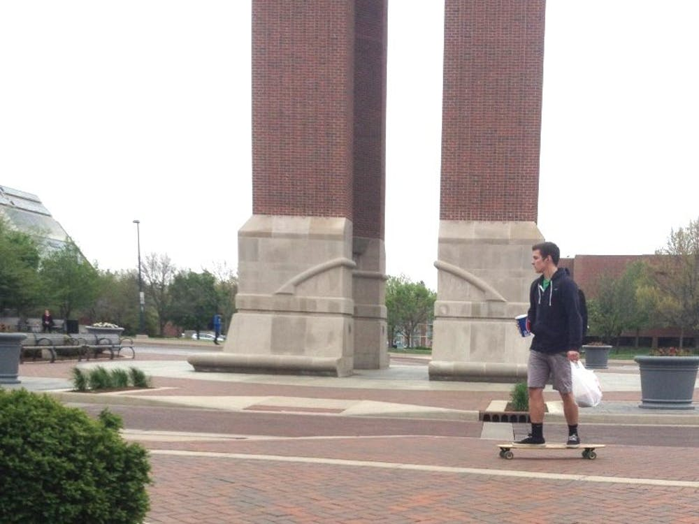Skateboarding is not prohibited on campus, but many students do not know that. Students can receive citations for skateboarding on campus, but they say it's not taking it seriously. DN PHOTO ALLIE KIRKMAN