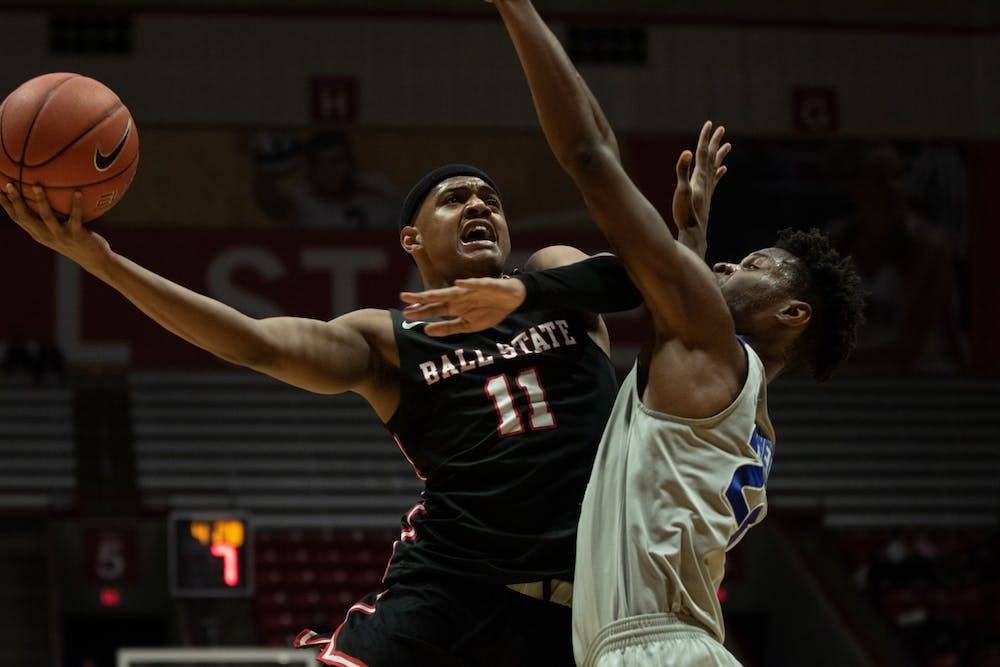 <p>Redshirt freshman guard Jarron Coleman goes up to the basket against Buffalo Jan. 7, 2020, at John E. Worthen arena. Coleman had nine points against Buffalo. <strong>Jacob Musselman, DN</strong></p>