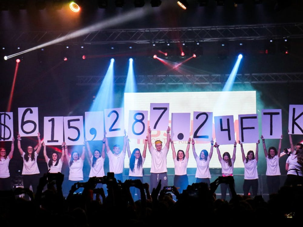 Ball State University Dance Marathon reveals that they raised $615,287.24 for the kids of Riley's Children Hospital Feb. 16, 2019. Even though the amount raised is less than the two previous years, everyone cheered in excitement for what they had accomplished when the cards were lifted up. Eric Pritchett, DN File