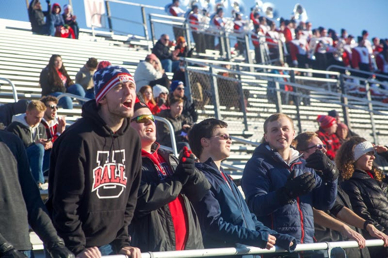Fans cheer on Ball State football against Central Michigan Nov.16, 2019, at Scheumann Stadium. Ball State lost 45-44. Omari Smith, DN