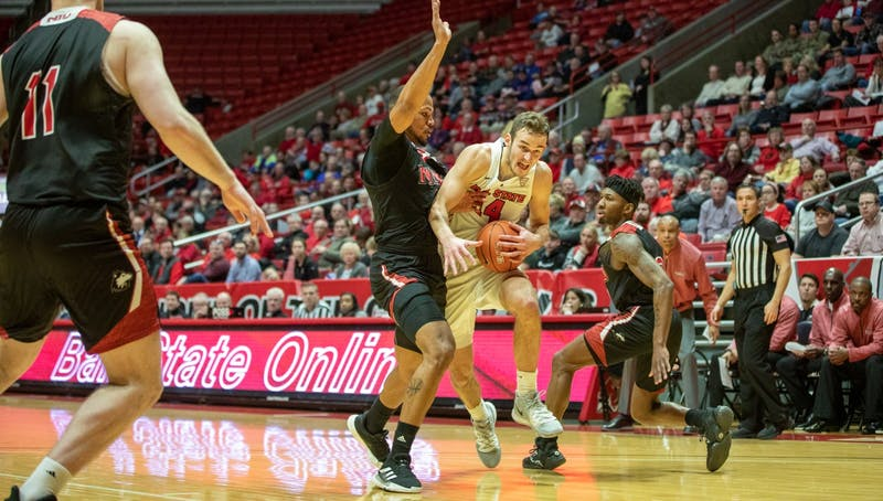 Senior forward Kyle Mallers goes in the paint Feb. 11, 2020, at John E. Worthen Arena. Mallers scored 12 points against the Huskies. Jacob Musselman, DN