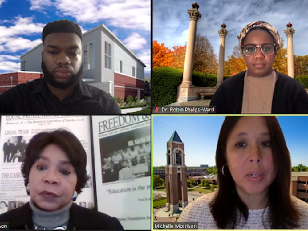 Michelle Morrison, bottom right, asks Cheryl Brown Henderson, bottom left, questions after her guest lecture. Brown Henderson was the 41st annual MLK Speaker for Ball State's Unity Week. Evan Weaver, Screenshot Capture