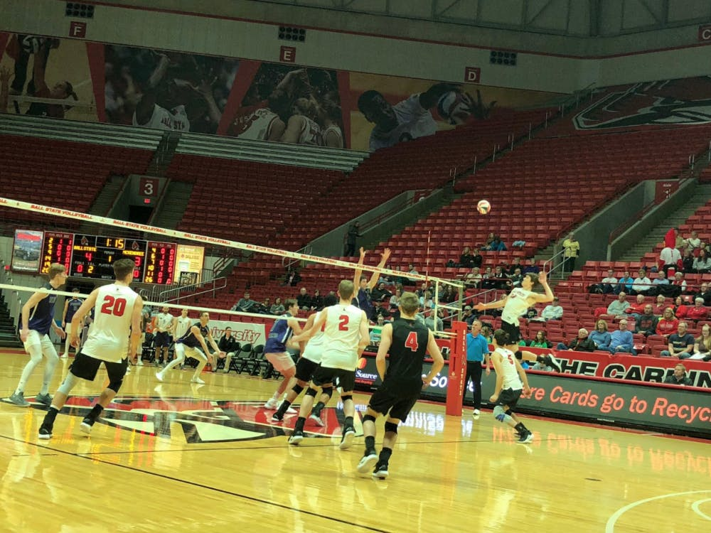 Junior outside attacker Matt Szews prepares to spike the ball in a game against McKendree on Feb. 7 at Worthen Arena. The Cardinals fell to the Bearcats, 3-0. Connor Smith, DN