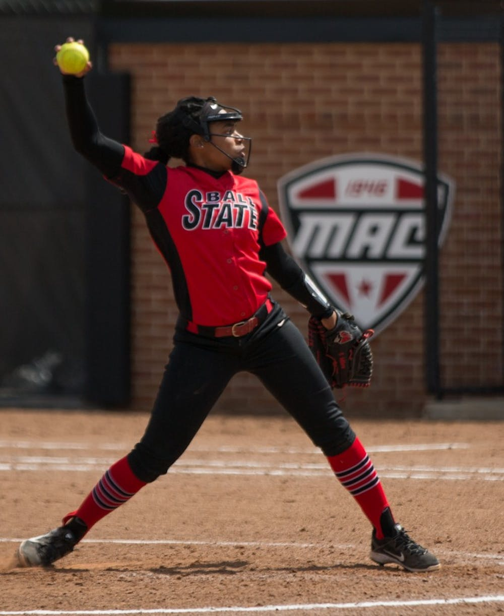 Aeshia Miles pitches to Kent State in the top of the third inning during the Cardinals' game against the Golden Eagles April 7 at Softball Field at First Merchants Ballpark Complex. Eric Pritchett, DN