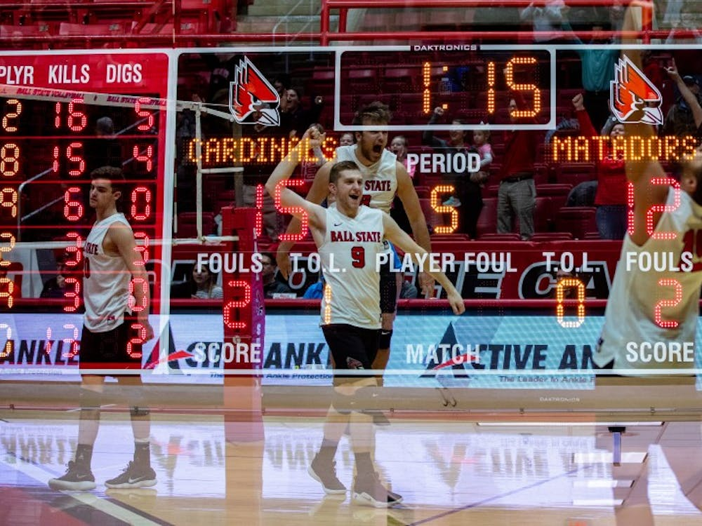 Ball State Men's Volleyball celebrates its 3-2 win over Cal State Northridge Jan. 19, 2019, at John E. Worthen Arena. The win improved the Cardinals' record to 3-4 on the season. Rebecca Slezak, DN