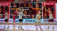 Ball State Cardinals celebrate their 3-2 win over Cal State Northridge Jan. 19, at John E. Worthen Arena. The win improved the Cardinals' record to 3-4 on the season. Rebecca Slezak,DN