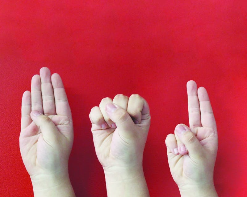 "Three hands sign the letters ""B,"" ""S"" and ""U."" American Sign Language is now a class that can fulfill Ball State's modern language requirement. JACOB MUSSELMAN, DN ILLUSTRATION"
