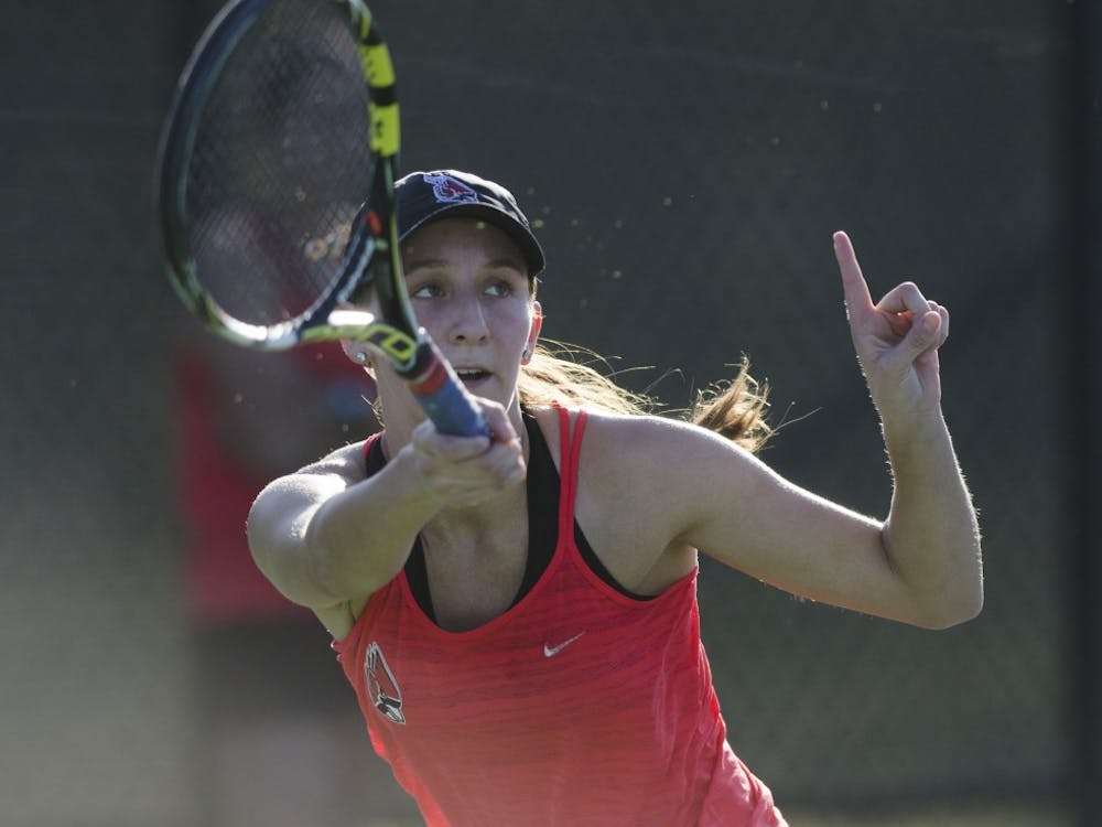 Senior Toni Ormond calls a ball out of play during her singles match against IUPUI on Feb. 19.Emma Rogers // DN
