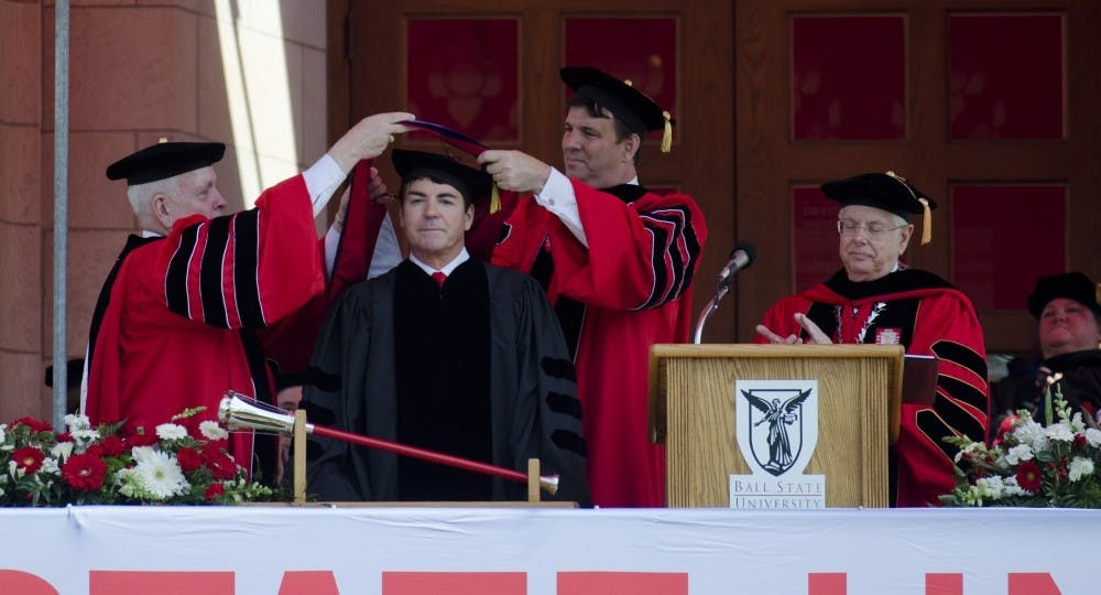 """<p>John """"Papa John"""" Schnatter and the Charles Koch Foundation donated $3.25 million to the university to fund the new&nbsp;John H. Schnatter Institute for Entrepreneurship and Free Enterprise. Schnatter spoke at the Spring 2015 commencement. DN PHOTO BREANNA DAUGHERTY</p>"""