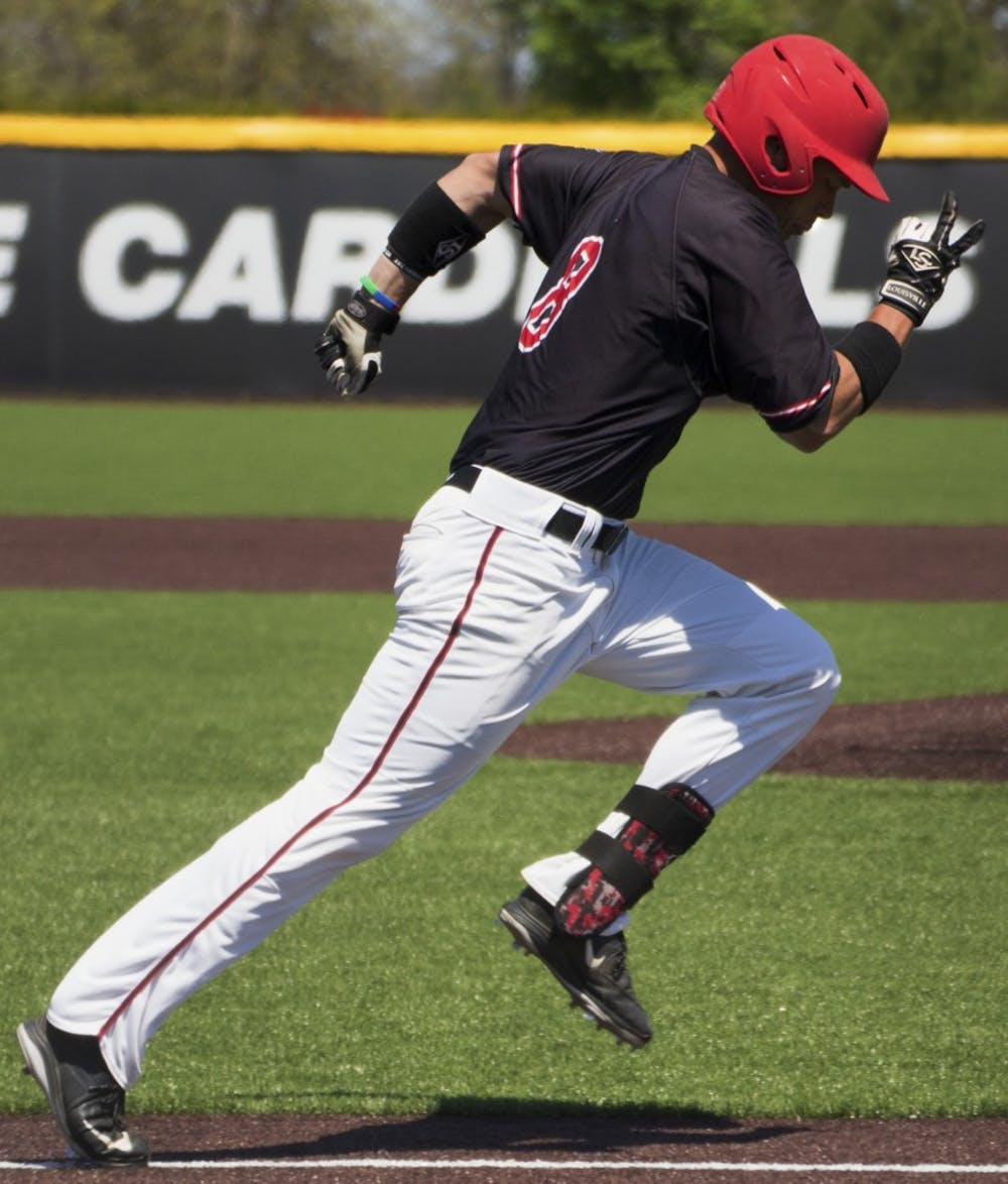 Alex Call, Ball State's junior outfielder runs to first base during the game against Bowling Green on April 23. DN PHOTO GRACE RAMEY