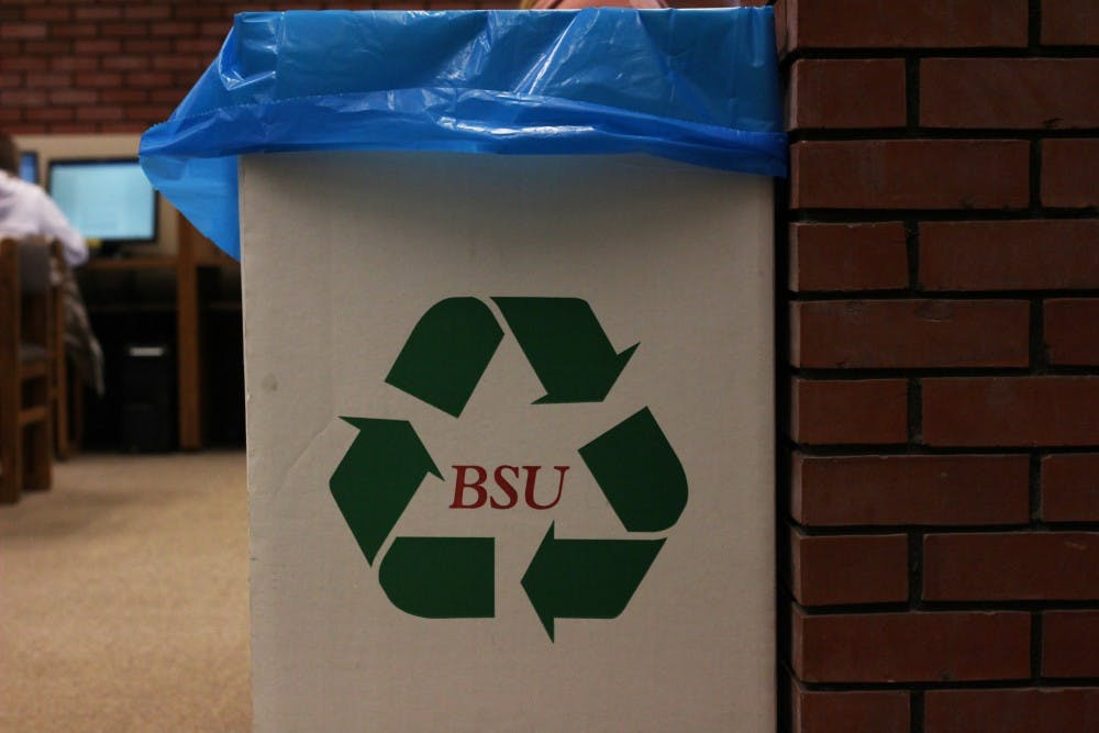 A recycling bin with a blue bag sits on the third floor of the Bracken Library, Nov. 13, 2018. Muncie's blue bag system celebrates twenty and is used by organizations and individuals to recycle items. Maggie Getzin, DN