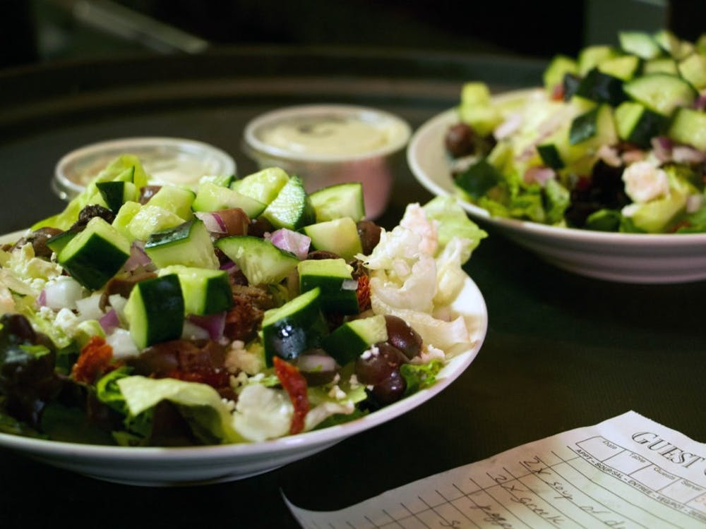 A delicious chef's salad is one of many items on the menu at Harmony Café in downtown Muncie, Indiana Jan. 18, 2018 (NEWS 397/Mara Semon).