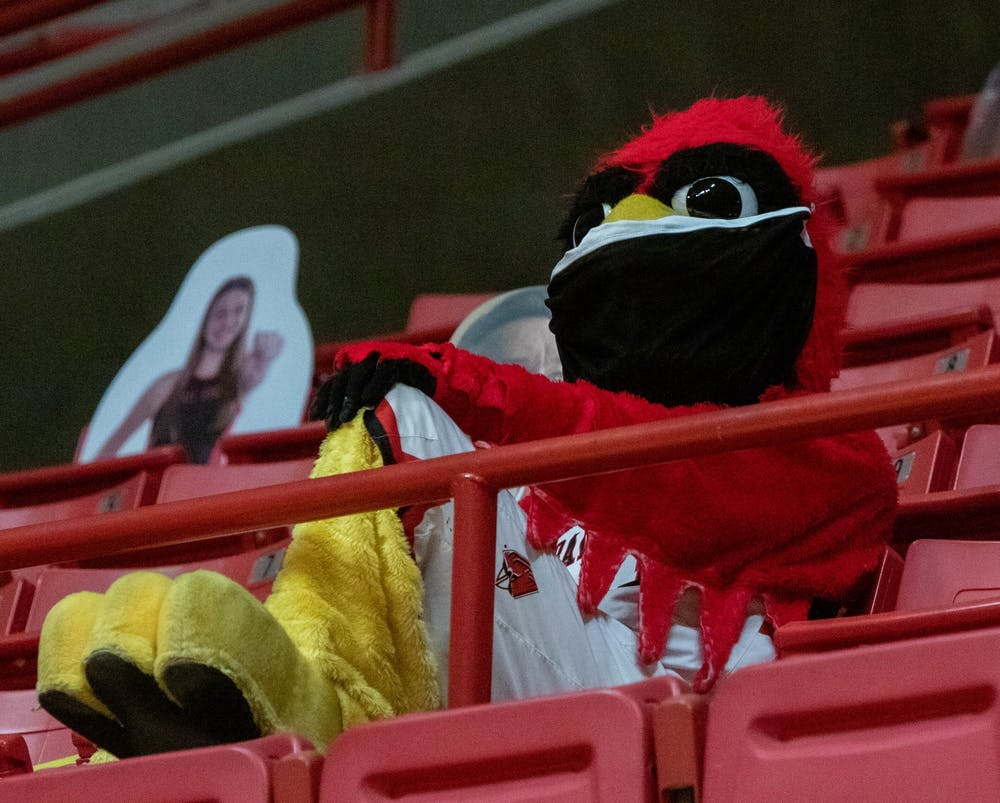 <p>Charlie Cardinal sits in the stands of the men&#x27;s basketball game Feb. 2, 2021, at John E. Worthen Arena. Ball State lost to Buffalo 58-78. <strong>Jaden Whiteman, DN</strong></p>