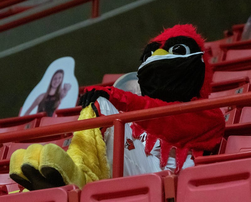Charlie Cardinal sits in the stands of the men's basketball game Feb. 2, 2021, at John E. Worthen Arena. Ball State lost to Buffalo 58-78. Jaden Whiteman, DN