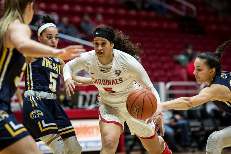Ball State guard Maliah Howard-Bass charges into the paint to find a group of Kent State players defending their basket in John E. Worthen Arena for the basketball game Jan. 23, 2019. Ball State closed out the game with a 48-44 win over Kent State. Eric Pritchett,DN