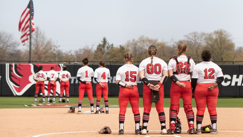 Ball State Cardinals stand for the national anthem on April 23, 2021, at the Softball Field at First Merchants Ballpark Complex. The Cardinals won 4-2 against the Bobcats. Madelyn Guinn, DN