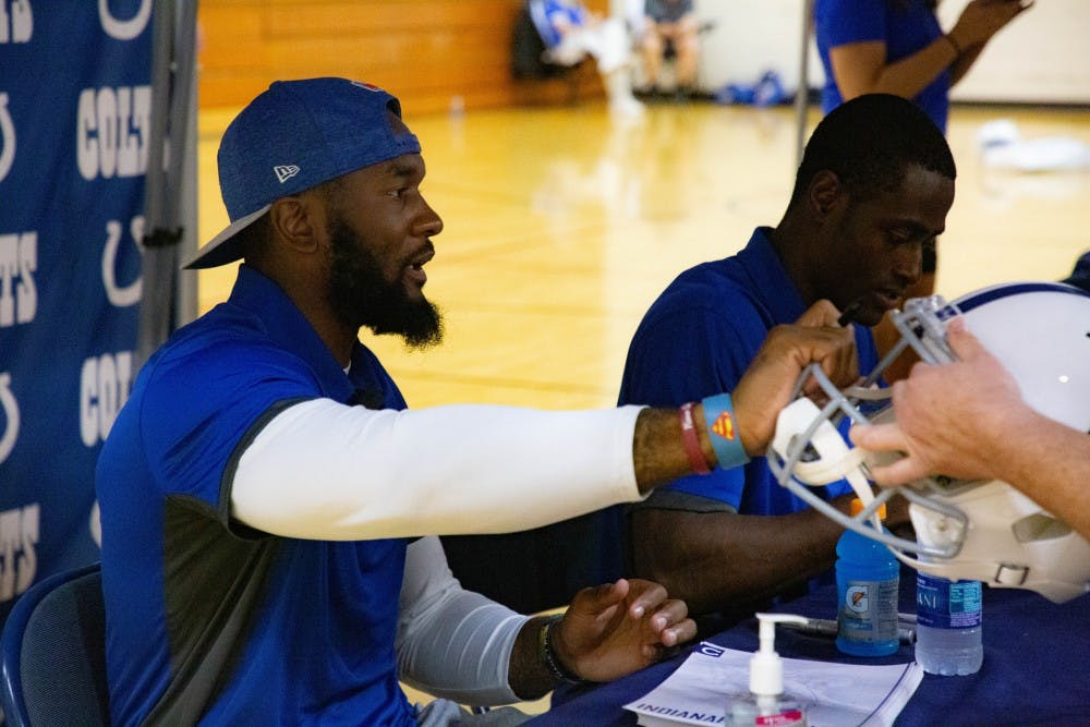 Indianapolis Colts Fan Fest in Muncie Central gymnasium