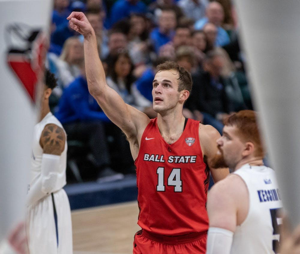 <p>Senior forward Kyle Mallers shoots a free throw Nov. 17, 2019, at Bankers Life Fieldhouse, Indianapolis, Ind. Ball State beat Indiana State 69-55. <strong>Jacob Musselman, DN</strong></p>