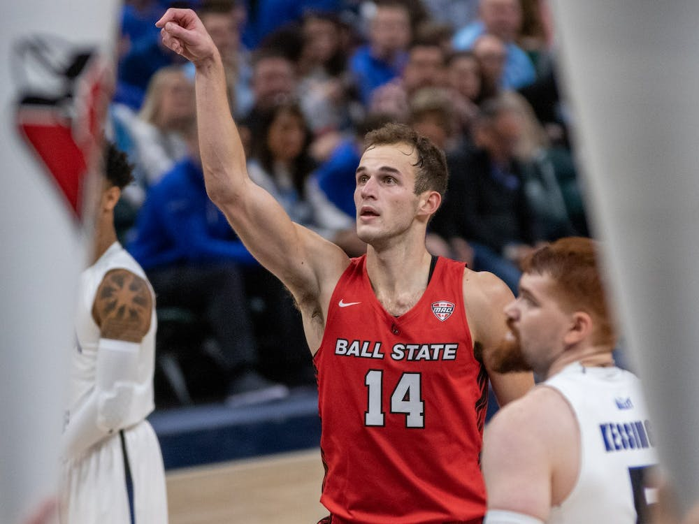 Senior forward Kyle Mallers shoots a free throw Nov. 17, 2019, at Bankers Life Fieldhouse, Indianapolis, Ind. Ball State beat Indiana State 69-55. Jacob Musselman, DN